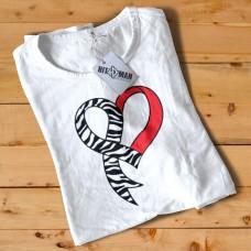 HR1001 Zebra Ribbon Heart White T-Shirt