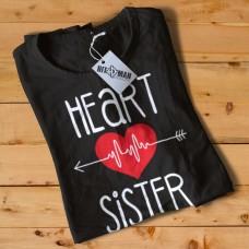 HR1004 Heart Sister Black T-Shirt