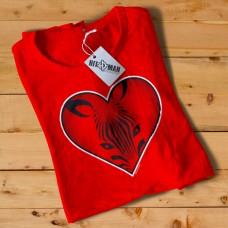 HR1005 Zebra Face Heart Red T-Shirt