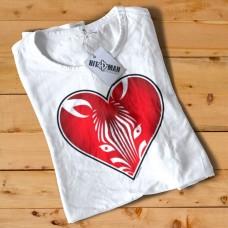 HR1005 Zebra Face Heart White T-shirt